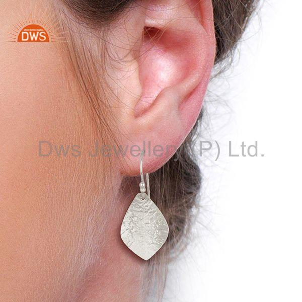 Designers 925 Sterling Fine Silver Textured Plain Silver Earrings Manufacturer