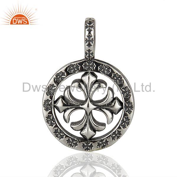 Designers Ch Plus Medallion 925 Sterling Silver Oxodized Pendant Wholesale Jewelry