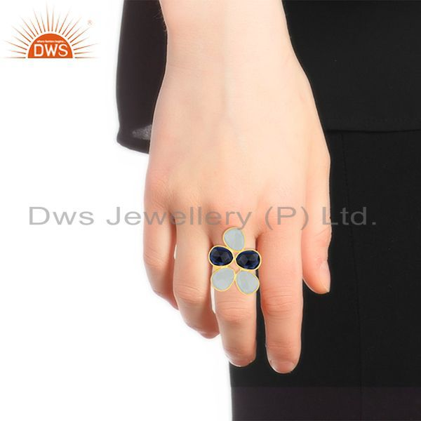 Designers Gold Plated 925 Silver Multi Gemstone Cocktail Ring Manufacturer Custom Jewelry