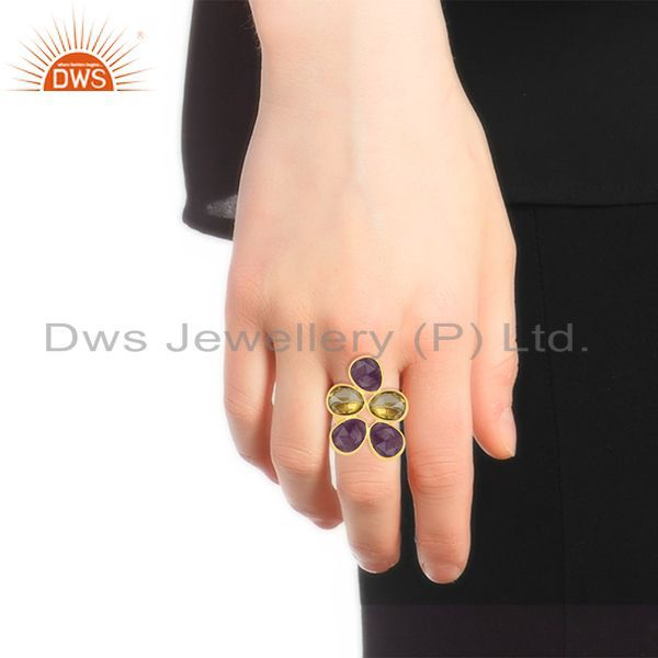 Designers Lemon Topaz and Amethyst Gemstone 925 Silver Gold Plated Cocktail Ring Wholesale
