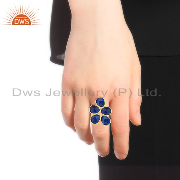 Designers Lapis Lazuli and Blue Corundum Gemstone Sterling Silver Gold Plated Ring