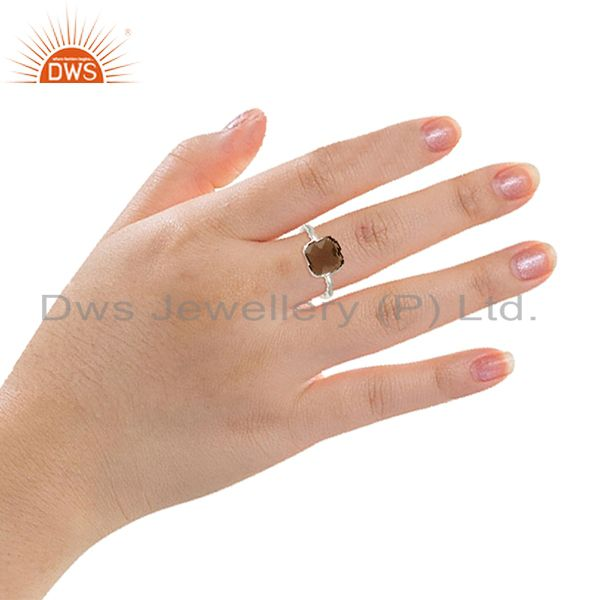 Designers Smoky Quartz Gemstone 925 Sterling Silver Ring Jewelry Manufacturer