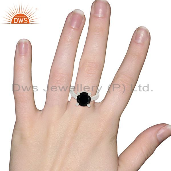 Designers Black Onyx And CZ Stackable 925 Sterling Silver Prong Set Ring Gemstone Jewelry
