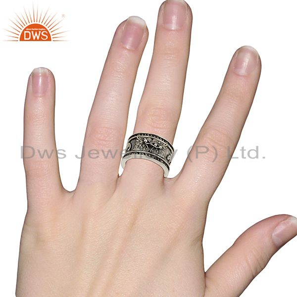 Designers Handmade Oxidized Antique Silver Engagement Rings Manufacturer