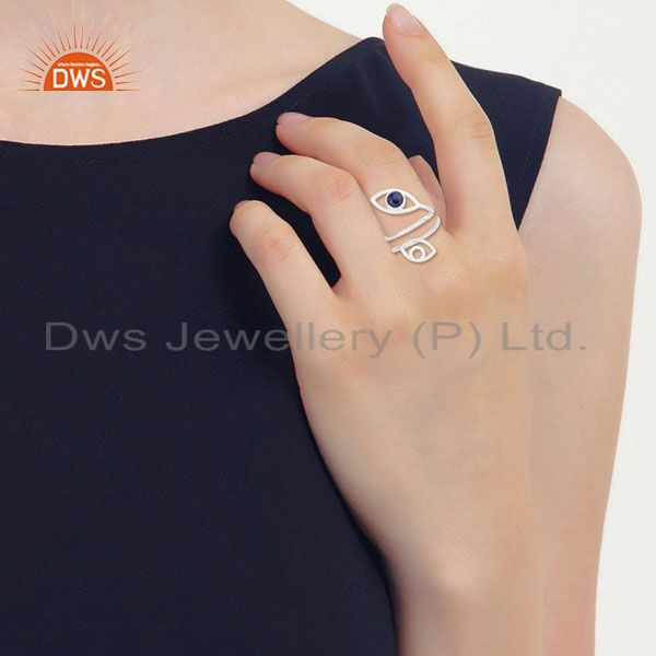 Designers Double Evil Eye Lapis Lazuli Gemstone Gold Plated Silver Ring Supplier
