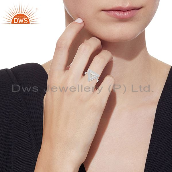 Designers Clear Crystal Quartz Triangle Design 925 Silver Ring Jewelry