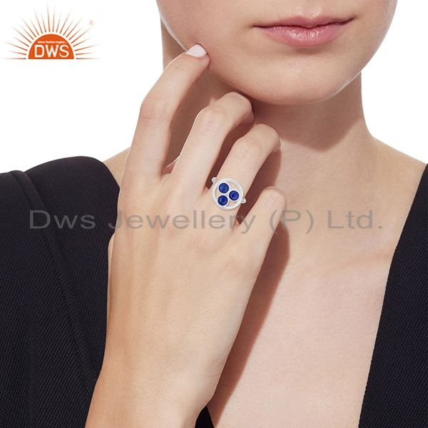 Designers Lapis Lazuli Gemstone 925 Sterling Silver Round Circle Ring Manufacturer India