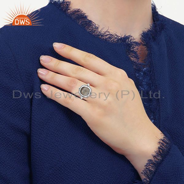 Designers Golden Rutile Gemstone Oxidized 925 Silver Ring Manufacturer for Designers India