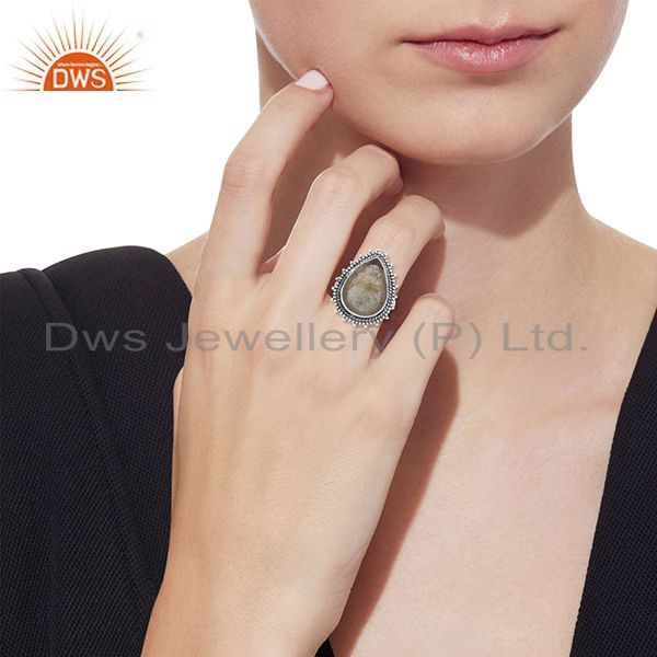 Designers Golden Rutile 925 Silver Oxidized Custom Ring Jewelry Manufacturer from India