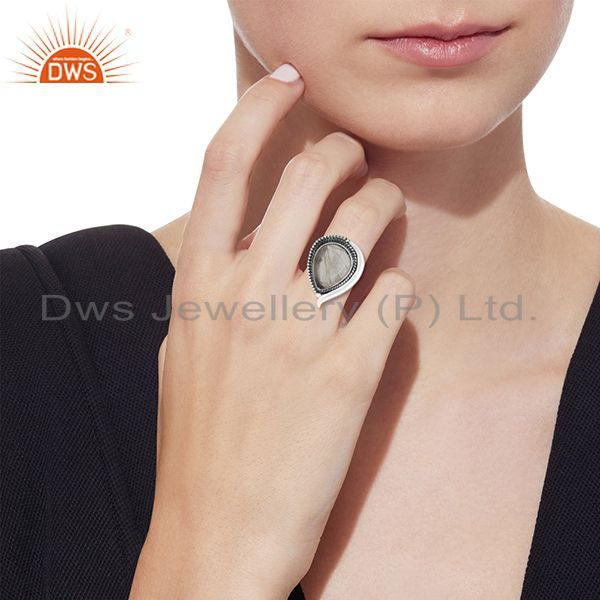 Designers Golden Rutile Gemstone 925 Silver Oxidized Ring Manufacturer
