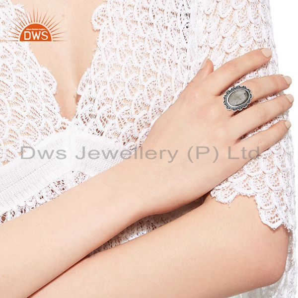 Designers Natural Golden Rutile Quartz Gemstone 925 Silver Oxidized Ring Manufacturers