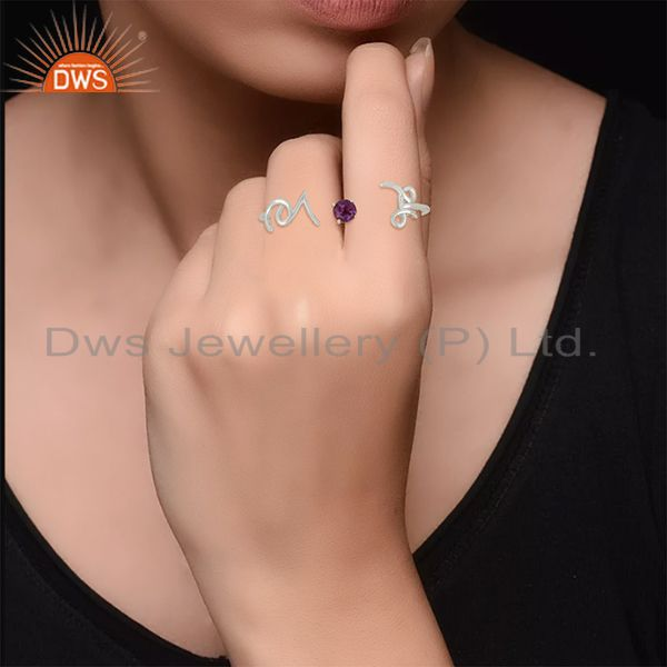 Designers Amethyst Gemstone 925 Silver Love Initial Double Finger Ring Wholesale