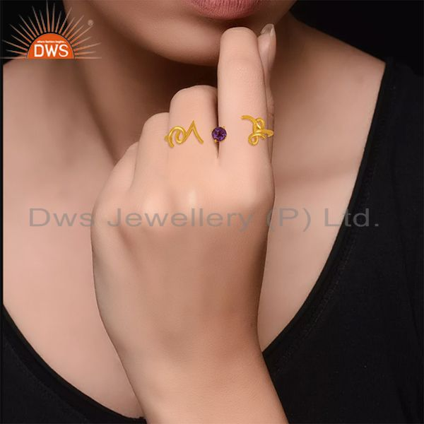 Designers Amethyst Gemstone 925 Silver Love Initial Gold Plated Double Finger Ring