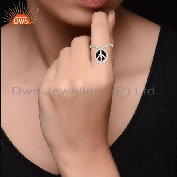 Designers Custom Peace Sign Sterling Fine Silver Onyx Gemstone Ring Manufacturer