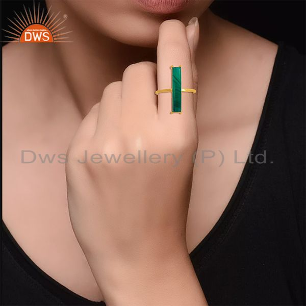 Designers Malachite Gemstone 925 Silver Gold Plated Ring Manufacturer of Jewelry