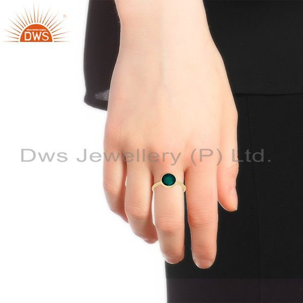 Designers Green Onyx Gemstone 925 Sterling Silver Gold Plated Ring Wholesale