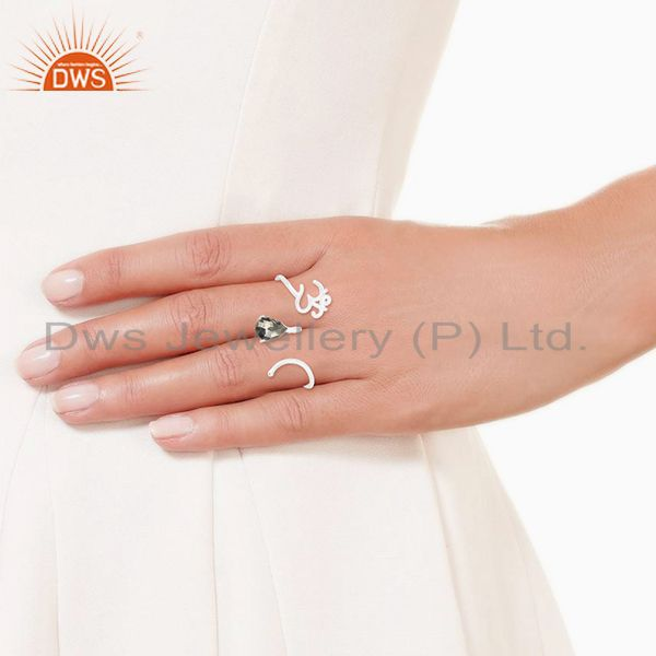 Designers Pyrite Gemstone 925 Sterling Silver Om Aum Double Finger Ring Wholesale
