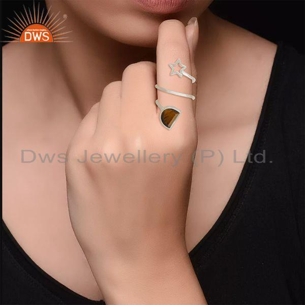Designers Tiger Eye Gemstone 925 Silver Star Charm Ring Manufacturers