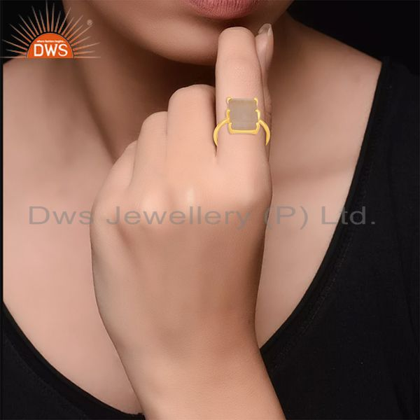 Designers Prong Set Rose Quartz Gemstone Gold Plated 925 Silver Adjustable Ring Wholesale