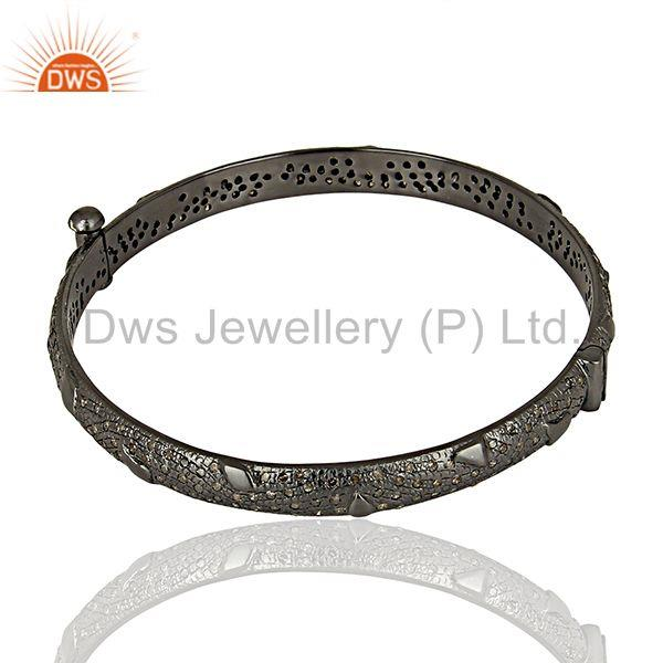 Manufacturer of Black rhodium plated pave diamond band bangle jewelry manufacturer