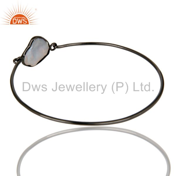 Manufacturer of Natural white pearl silver black oxidized handmade openable bangle