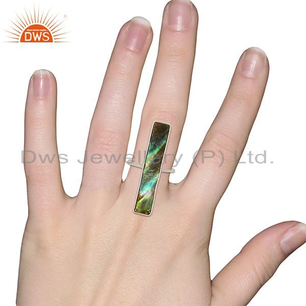 Designers Natural Abalone Shell Rectangle 92.5 Sterling Silver Rings Gemstone Jewelry