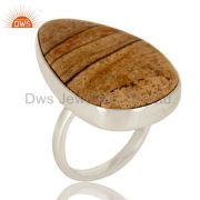 Handmade Solid Sterling Silver Picture Jasper Bezel Set Gemstone Cocktail Ring