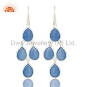 Indian Handmade Solid 925 Sterling Silver Dyed Blue Chalcedony Dangle Earrings