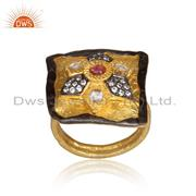 CZ And Pink Tourmaline Set Gold On Silver Traditional Ring