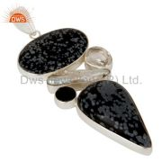 Snowflake obsidian, crystal and fresh water pearl sterling silver pendant