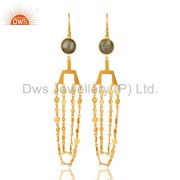 24K Yellow Gold Plated Brass Labradorite Gemstone Chain Chandelier Earrings