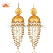 White Pearl Beaded 18K Gold Plated Beautiful Jhumki Earring for Her