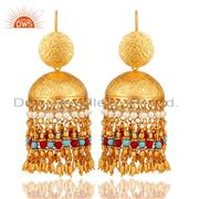 18K Gold Plated Pearl Coral and Turquoise Beaded Jhumki Earring Fashion Jewelry