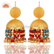18K Gold Plated Pearl Coral Cultured and Turquoise Traditional Jhumki Earring