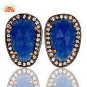 Natural Blue Aventurine and White CZ Yellow Gold Plated Stud Boutique Jewelry