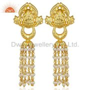 Pearl Temple 18K Yellow Gold Plated Brass Traditional Jewellery Earring