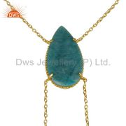 14K Gold Plated Handmade Pear Cut Natural Amazonite Chain Link Necklace