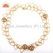 Trendy Look Crafted Hammered Matte Polished 18k Yellow Gold GP Link Chain Neckla