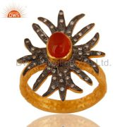 18K Yellow Gold Plated Red Onyx And White Zircon Antique Style Ring