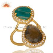 14K Gold Plated Labradorite, Amazonite & White Zircon Statement Brass Ring