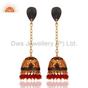 Indian Handmade Design 22k Yellow Gold Plated Red Coral Gemstone Drop Earrings