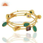 Multi Gemstone With Charms Brass 14K Gold Plated Bangle Set Jewelry