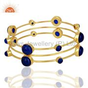 Blue gemstone 925 sterling silver gold on three bangle set jewelry