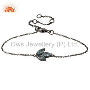 Oxidized Sterling Silver Blue Topaz Gemstone Cable Link Chain Bracelet