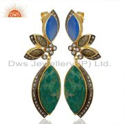 Designer Amazonite Gemstone Fashion Earrings Jewelry Manufacturer