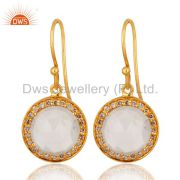 18K Solid Yellow Gold Natural Diamond And Crystal Quartz Dangle Earrings