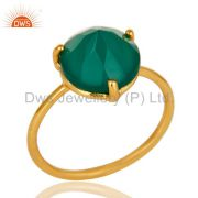 22K Yellow Gold Plated Sterling Silver Prong Set Green Onyx Stackable Ring