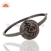 Pave diamond om bangle 925 silver vintage inspired latest jewelry
