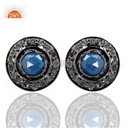 14K Gold Diamond Pave Sapphire 925 Silver Stud Earrings Gemstone Fine Jewelry BY