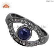 Blue Sapphire 925 Sterling Silver Evil Eye Designer Ring Gemstone Jewelry US 7
